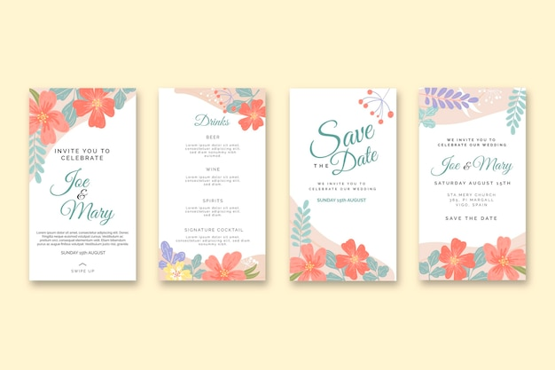 Floral wedding instagram stories collection