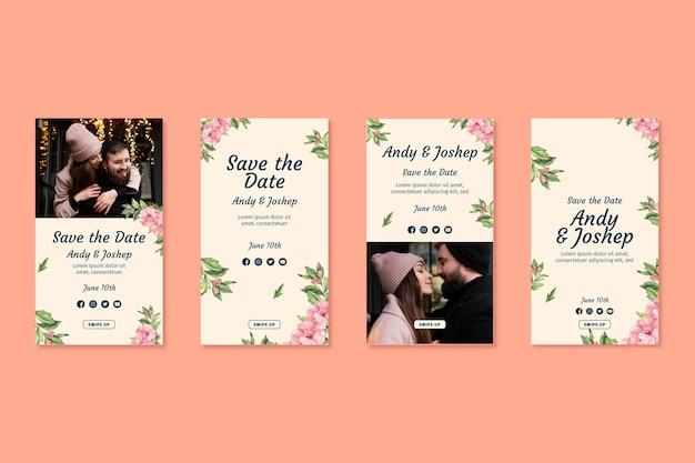 Storie di instagram di matrimonio floreale