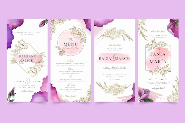 Floral wedding instagram stories
