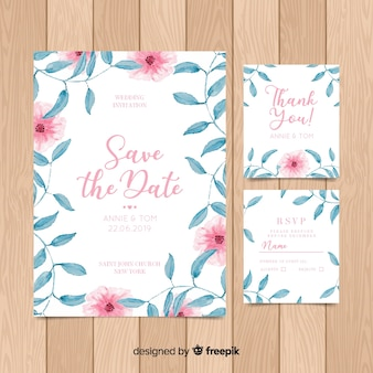 Floral wedding invitatio