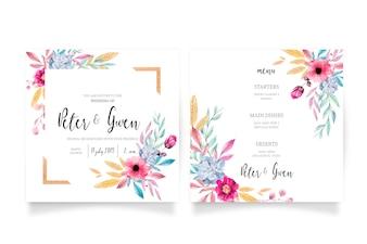 花の結婚式の招待状&メニューテンプレート