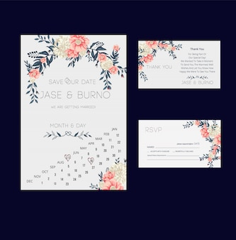 Floral wedding Invitation and RSVP card collection