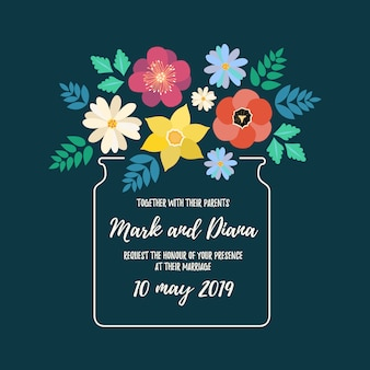 Floral wedding invitation background with flowers.