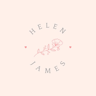 Floral wedding invitation badge design vector