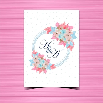 Floral wedding invitation badge with beautiful hand painted blue roses