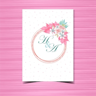 Floral wedding invitation badge with beautiful pink roses