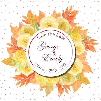 아름 다운 노란 장미와 꽃 결혼 초대장 배지