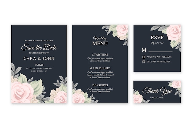 Floral wedding invitation on black background template