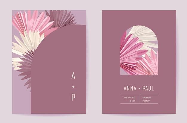 Цветочные свадебные приглашения ботаническая карта, плакат с сухими листьями тропических пальм в стиле бохо, набор рамок, современный минимальный фиолетовый вектор шаблона. модный дизайн с золотой листвой save the date, роскошная брошюра