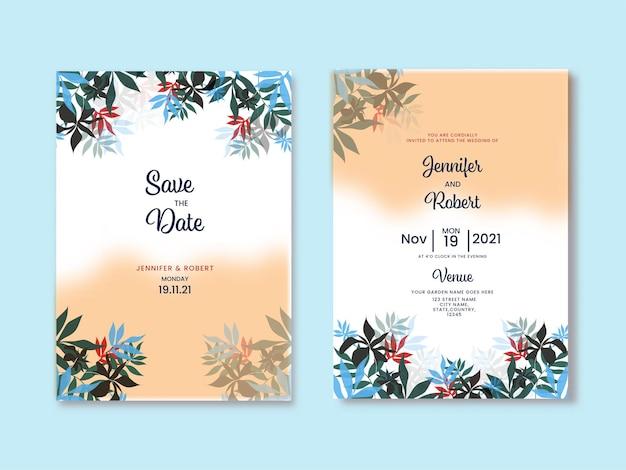 꽃 결혼식 초대 카드 및 파란색 배경에 날짜 템플릿을 저장합니다.