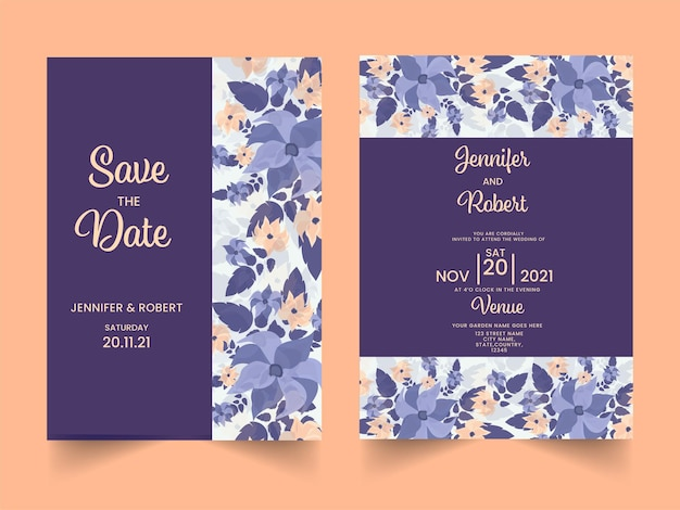 꽃 결혼식 초대 카드 및 오렌지 배경에 날짜 템플릿을 저장합니다.