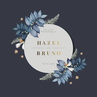 Floral wedding invitation card design vector