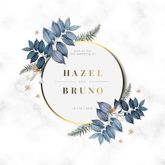 花の結婚式の招待カードデザインベクトル