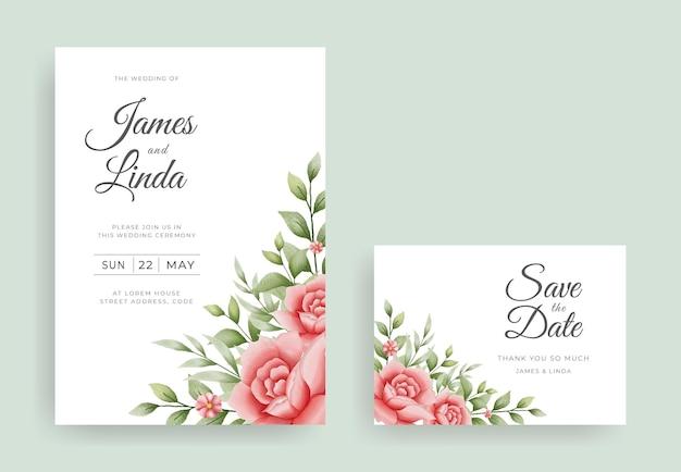 日付テンプレートを保存と花の結婚式の招待カードのデザイン