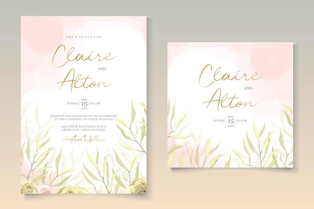 花の結婚式の招待カードのデザイン