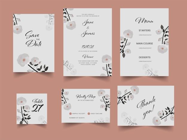 꽃 결혼식 초대 카드 화이트 색상으로 설정합니다.