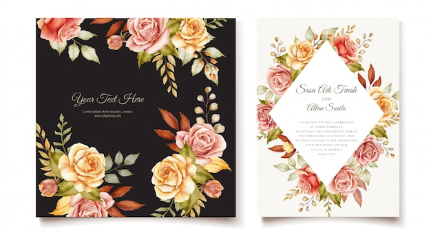 꽃 결혼식 초대 카드 세트