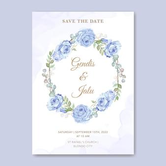 Floral wedding invitation card template blue rose