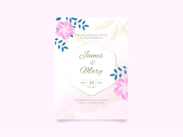 花の結婚式の招待カード、イベントの詳細とテンプレートデザイン。