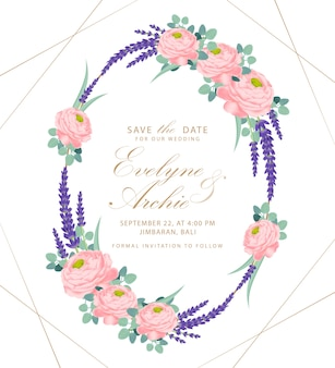 Floral wedding invitation card template design with ranunculus rose and lavender flowers.