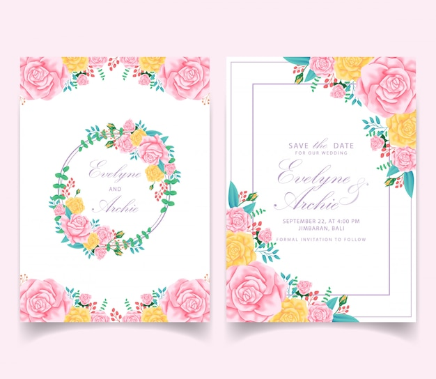 Floral wedding invitation card template design