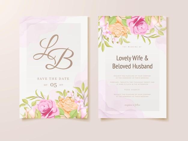 Цветочный дизайн шаблона приглашения на свадьбу