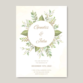 Floral wedding invitation card template greenery plants