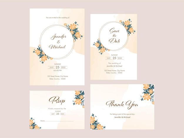 네 가지 옵션에서 꽃 결혼식 초대 카드 템플릿 레이아웃입니다.