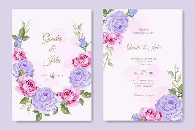 花の結婚式の招待カードテンプレートバラの花