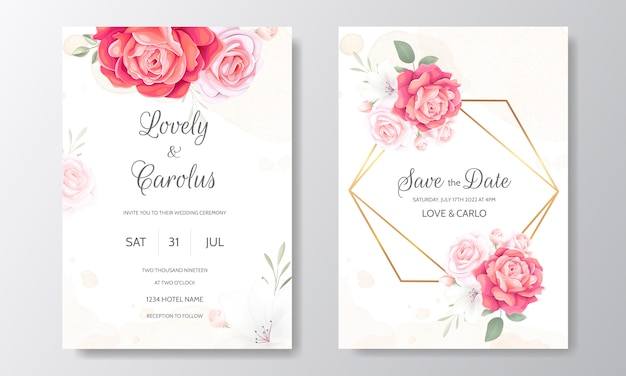 Floral wedding invitation card template set with beautiful flowers border