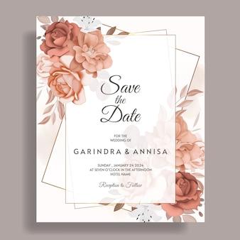 エレガントな茶色の葉の装飾が設定された花の結婚式の招待カードテンプレート