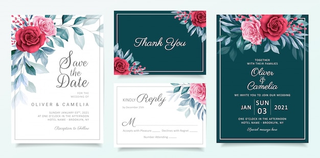 Floral wedding invitation card template set with elegant watercolor flowers and leaves