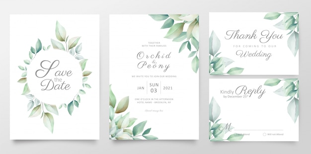 Floral wedding invitation card template set with realistic watercolor leaves