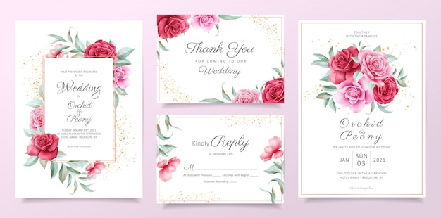 Floral wedding invitation card template set with red and purple roses, leaves, and golden decoration