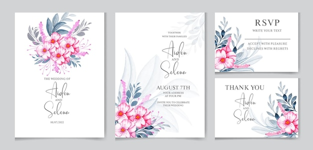 Floral  wedding invitation card template set with soft pink flower and watercolor leaves decoration