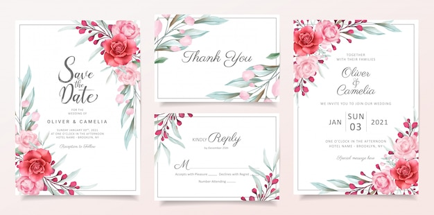 Floral wedding invitation card template set with watercolor flowers border decoration