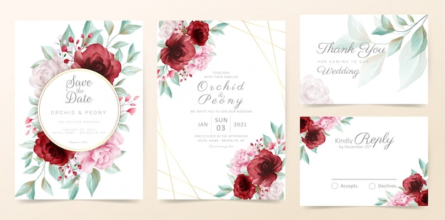 Floral wedding invitation card template set with watercolor flowers and golden decoration