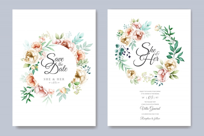 Floral wedding invitation card template set with watercolor flowers