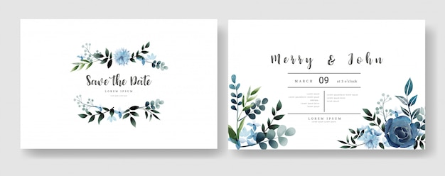 Floral wedding invitation card template watercolor style