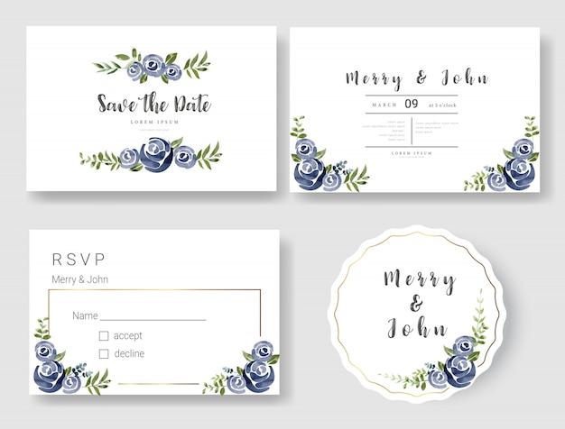 花の結婚式の招待カードテンプレート水彩風