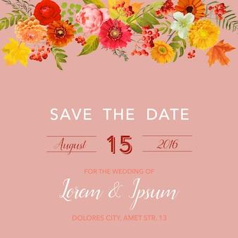 가 꽃, 잎, rowanberry와 꽃 결혼식 초대 카드 템플릿. 베이비 샤워 장식
