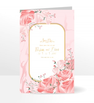 Floral wedding invitation card template with beautiful flowers style.