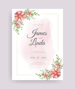 手描きの葉とバラと花の結婚式の招待カードテンプレート