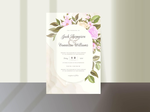 Floral wedding invitation card template with rose and leaves