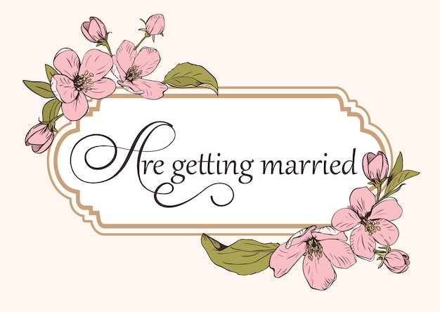 텍스트와 꽃 결혼식 초대 카드 템플릿입니다.