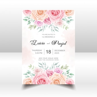 Floral wedding invitation card template with watercolor flowers