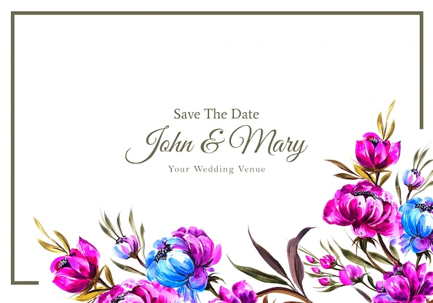 꽃 결혼식 초대 카드 템플릿