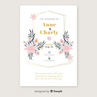 꽃 결혼식 및 초대 카드 템플릿 무료 벡터