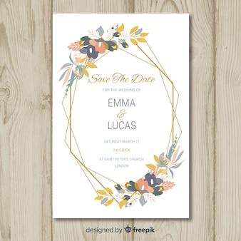 Floral wedding invitation card template