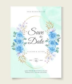 花の結婚式の招待カードのテンプレート